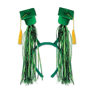 Grad Cap With Fringe Boppers, One Size Fits Most, Green, 2/Pack