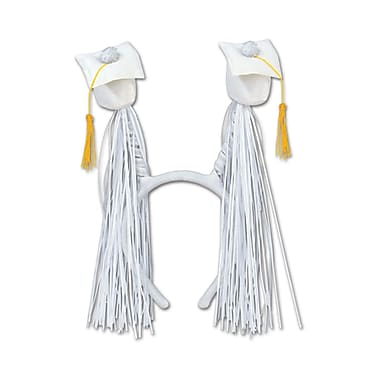 Grad Cap With Fringe Boppers, One Size Fits Most, White, 2/Pack