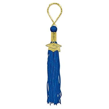 Tasseled Key Chain, Blue, 5/Pack
