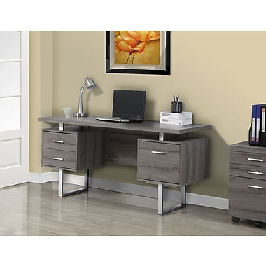 Monarch 60 L Office Desk Reclaimed Look Dark Taupe Silver Metal