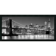 "Amanti Art ""Brooklyn Bridge"" Framed Art Print by Henri Silberman, 18""H x 38""W"