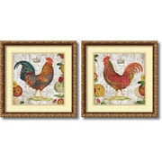"""Amanti Art """"Rooster, gold frame - Set of 2"""" Framed Art Print by Suzanne Nicoll, 17.88""""H x 17.88""""W"""