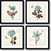 "Amanti Art ""Touch of Blue, black frame - Set of 4"" Framed Print by Katie Pertiet, 17.13""H x 17.13""W"