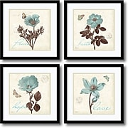 """Amanti Art """"Touch of Blue, black frame - Set of 4"""" Framed Print by Katie Pertiet, 17.13""""H x 17.13""""W"""