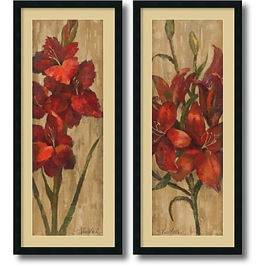 Amanti Art Vivid Red Gladiola and Lily on Gold Framed Art Print by Silvia Vassileva, 42
