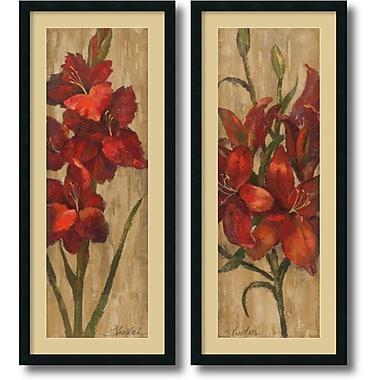 Amanti Art ? Impression encadrée « Glaïeul/lis rouges, doré » par Silvia Vassileva, 42 haut. x 18 larg. (po), 2/pqt (DSW1004244)