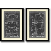 "Amanti Art ""Aeronautic Blueprint III & IV - Set of 2"" Framed Art Print, 36.63""H x 25.63""W"