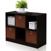 Furinno® Laminate -Solid Wood Bookcase Storage with Bins Espresso & Brown