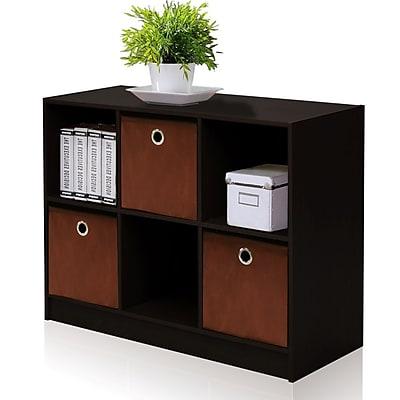 Furinno® Laminate -Solid Wood Bookcase Storage with Bins Espresso & Brown