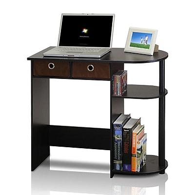 Furinno 31.5'' U-Shaped Polyethylene Transitional Computer Desk, Black/Espresso (11193EX/BK/BR)