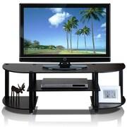 """Furinno® 15.9"""" x 47.2"""" Rubber and PVC Wide TV Center, Espresso and Black"""