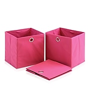 """Furinno® 10.6"""" x 10.6"""" Non-Woven Polypropylene & Paperboard Round Ring Handle, Pink"""