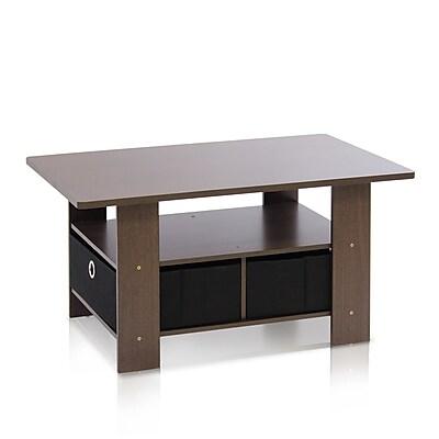 Furinno Wood Coffee Table, Brown, Each (11158DBR/BK)