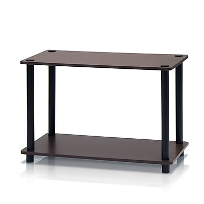 Furinno® Rubber Trees & Polyvinyl Chloride Tubes 2-Tier End Tables Set, Dark Brown & Black