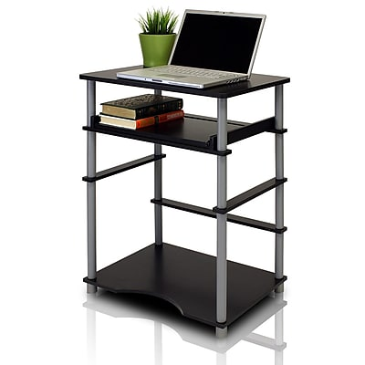 Furinno 23.6'' Rectangular Polyethylene Contemporary Computer Desk, Black/Gray (10016BK/GY)