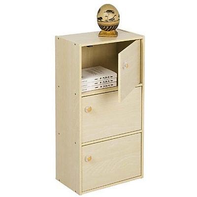 Furinno® 3-Tier Bookcase with Door and Round Handle Wood