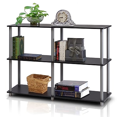 Furinno® Particle Board & PVC Tube Turn-N-Tube 3-Tier Double Size Storage Display Rack Black/Grey