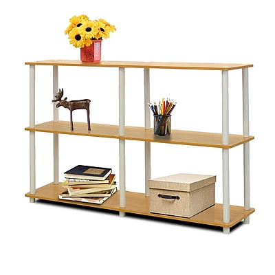 Furinno® Particle Board & PVC Tube Turn-N-Tube 3-Tier Double Size Storage Display Rack Beech/White