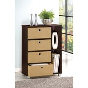 "Furinno® Engineered Particleboard Multipurpose Storage Shelf Cabinet Dresser 33.2"", Espresso"