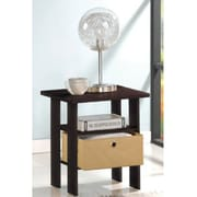 """Furinno® 17.5"""" x 15.5"""" Rubber Trees & Polyvinyl Chloride End Table, Espresso & Light Brown"""