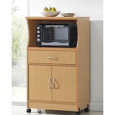 Hodedah Rectangular Microwave Cart Beech Hik77
