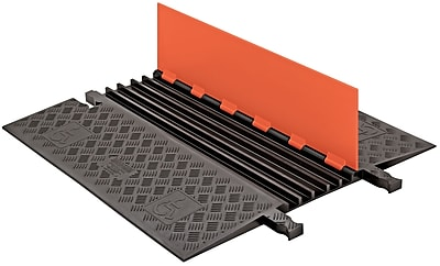 Checkers® Guard Dog® 5 Channel Low Profile Cable Protector With Built-In ADA Ramp, Orange/Black