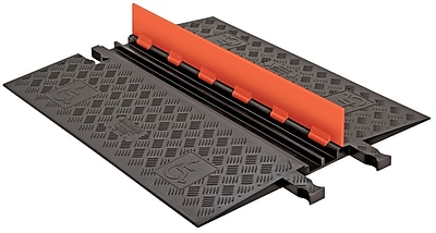 Checkers® Guard Dog® 2 Channel Low Profile Cable Protector With Built-In ADA Ramp, Orange/Black