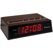 "Westclox® 22690 0.6"" Red LED Retro Digital Alarm Clock, Wood Grain"