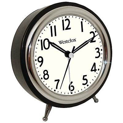 Westclox® 75032 Classic Retro Alarm Clock With Chrome Bezel, Black