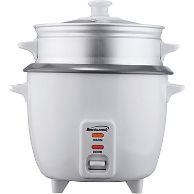 Brentwood 5 Cup Rice Cooker With Steamer, White (BTWTS600S)