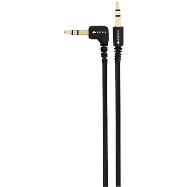 Kanex® 6' Flat Angeled Stereo Male to Male Auxiliary Cable, Black
