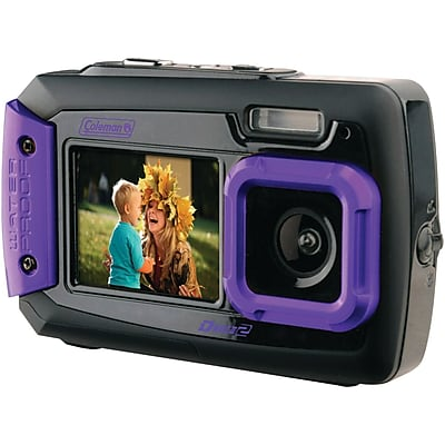 Coleman® Duo2 2V9WP Dual-Screen Waterproof Digital Camera, 20 MP, Purple