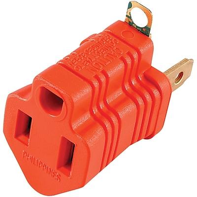 GE Polarized Grounding Adapter Plug, Orange