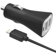 DigiPower® InstaSense™ 3.4A Dual USB Car Charger Kit With Lightning™ Cable, Black