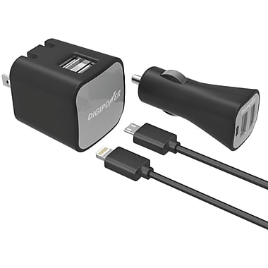 DigiPower® InstaSense™ 2.4A Dual USB Wall & Car Charger Kit W/Lightning™ & Micro USB Cables, Black