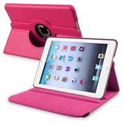 Insten® 360-Deg Leather Swivel Stand Case For Apple iPad Mini/iPad Mini W/Retina Display, Hot Pink