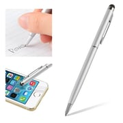 "Insten® 1860581 5 1/2"" Metal 2-in-1 Capacitive Touch Screen Stylus Ballpoint Pen, Silver"