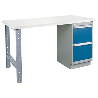 Kleton Workbench, Plastic Laminate Top, 1 Pedestal and 2 Drawers, 36