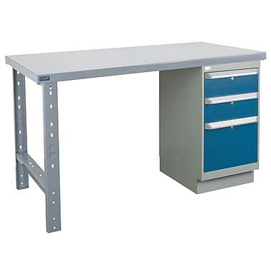 Kleton Workbench, Wood Filled Steel Top, 1 Pedestal and 3 Drawers