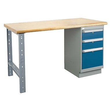 Kleton Workbench, Laminated Top, 1 Pedestal and 3 Drawers, 24