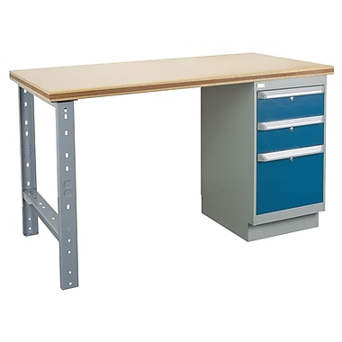Kleton Workbench, Shop Top, 1 Pedestal and 3 Drawers, 24