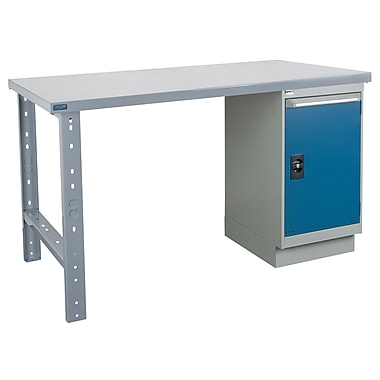 Kleton Workbench, Wood Filled Steel Top, 1 Pedestal and 1 Door, 30