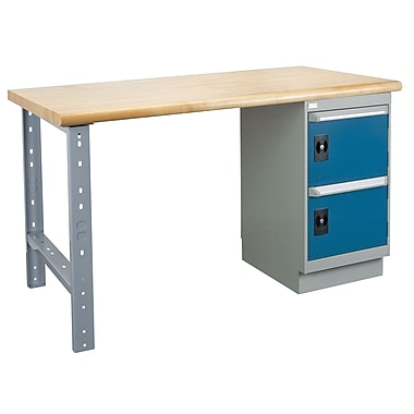 Kleton Workbench, Laminated Top, 1 Pedestal and 2 Doors, 36