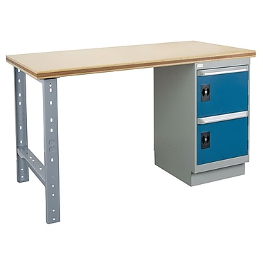 Kleton Workbench, Wood Filled Steel Top, 1 Pedestal, 4 Drawers and 1 Door