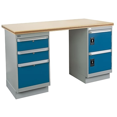 Kleton Workbench, Shop Top, 2 Pedestals and 3 Drawers and 2 Doors, 36