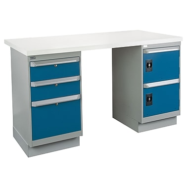 Kleton Workbench, Plastic Laminate Top, 2 Pedestals and 3 Drawers and 2 Doors, 24
