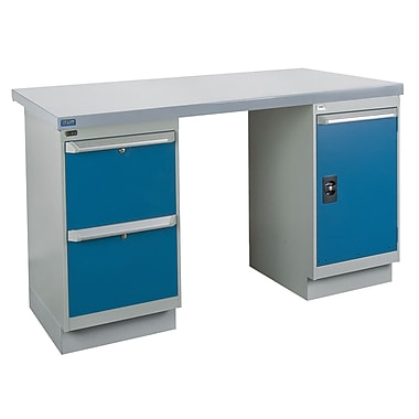 Kleton Workbench, Wood Filled Steel Top, 2 Pedestals, 2 Drawers and 1 Door, 30