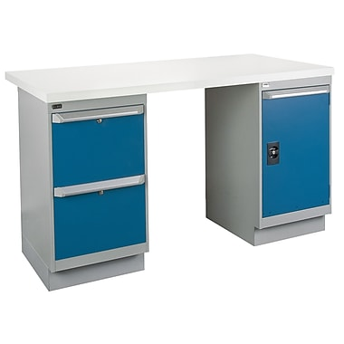 Kleton Workbench, Plastic Laminate Top, 2 Pedestals, 2 Drawers and 1 Door, 36