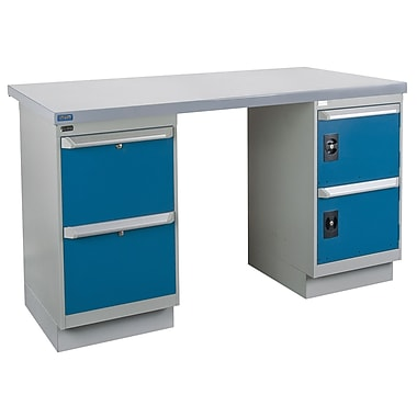 Kleton Workbench, Wood Filled Steel Top, 2 Pedestals, 2 Drawers and 2 Doors, 24