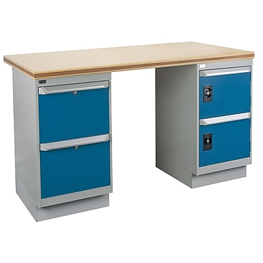 Kleton Workbench, Shop Top, 2 Pedestals, 2 Drawers and 2 Doors, 36